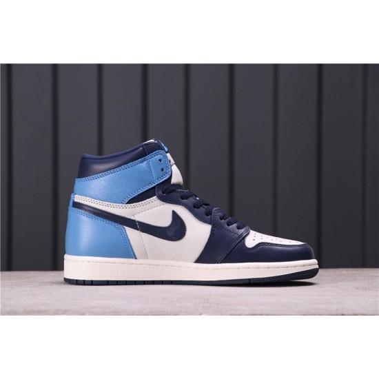 """Air Jordan 1 High """"Obsidian"""" 555088-140 Blue White"""