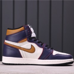 "Air Jordan 1 High ""LA to Chicago"" CD6578-507 Purple Gold White"