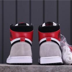 """Air Jordan 1 High """"Light Smoke Grey"""" 555088-126 Grey White Red"""
