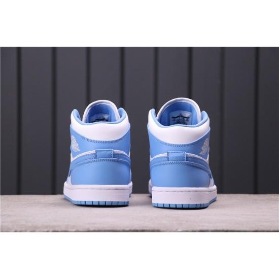 "Air Jordan 1 Mid ""UNC"" 554724-106 Blue White"