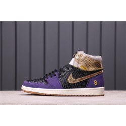 "Air Jordan 1 ""Midnight Navy"" 555088-171 Purple Gold"