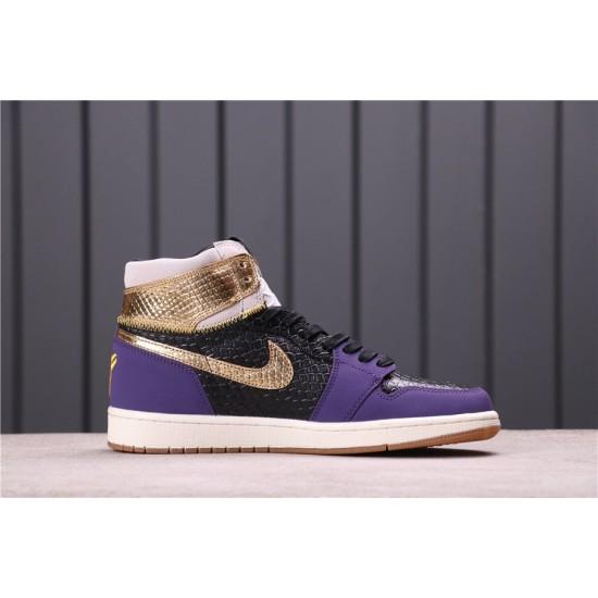 """Air Jordan 1 """"Midnight Navy"""" 555088-171 Purple Gold"""
