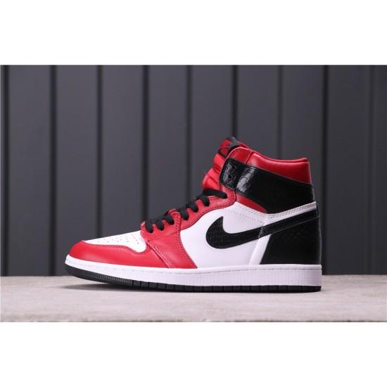 Air Jordan 1 Satin Snake CD0461-601 Red White Black