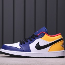 "Air Jordan 1 Low ""White Navy Yellow"" 553558-123 Purple Yellow White Black"