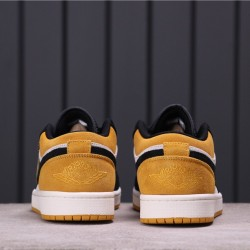 "Air Jordan 1 Low ""University Gold"" 553558-127 Yellow White Black"