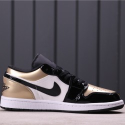 "Air Jordan 1 Low ""Gold Toe"" CQ9447-700 Black Gold"
