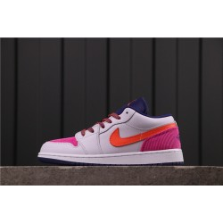 "Women Air Jordan 1 Low ""Pink Corduroy"" 554723-502 Grey Pink"