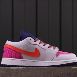 """Women Air Jordan 1 Low """"Pink Corduroy"""" 554723-502 Grey Pink"""