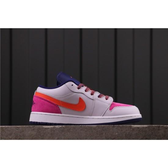 Women Air Jordan 1 Low Pink Corduroy 554723-502 Grey Pink