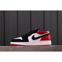 """Air Jordan 1 Low """"Black Toe"""" 553558-116 Red Black White"""