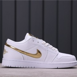 "Air Jordan 1 Low ""Metallic Gold"" CZ4776-100 White Gold"