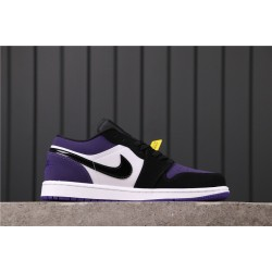 "Air Jordan 1 Low ""Court Purple"" 553558-125 Purple White Black"