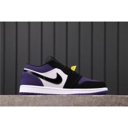 "Air Jordan 1 Low ""Court Purple"" 553558-125 Purple White Black"