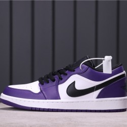 "Air Jordan 1 Low ""Court Purple"" 553558-500 Purple Black White"