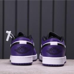 "Air Jordan 1 Low ""Court Purple"" 553558-500 Purple Black White"