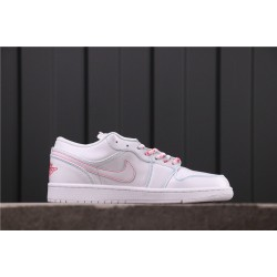 "Air Jordan 1 Low GS ""Pink"" 554723-101 White Pink"