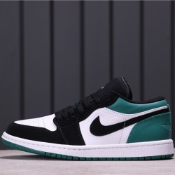 "Air Jordan 1 Low ""Mystic Green"" 553558-113 Dark Green White Black"