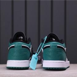 """Air Jordan 1 Low """"Mystic Green"""" 553558-113 Dark Green White Black"""