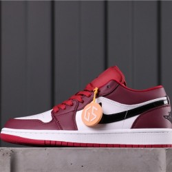 "Air Jordan 1 Low ""Noble Red"" 553558-604 Red White Black"