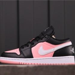"""Women Air Jordan 1 Low """"Pink Quartz"""" 554723-016 Pink Black White"""