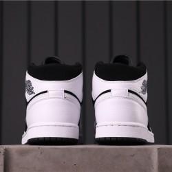 "Air Jordan 1 Mid ""White/Black"" 554724-113 White Black"