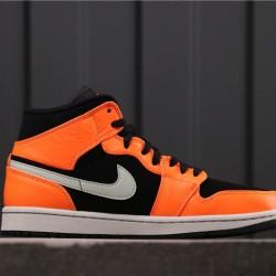 "Air Jordan 1 Mid ""Orange/Black"" 554724-062 Orange Black White"