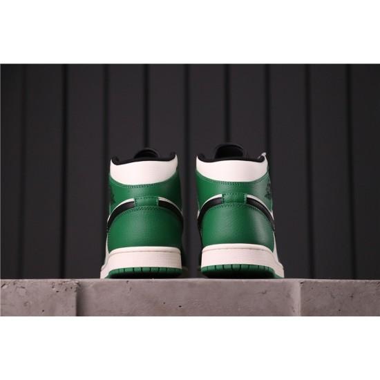 "Air Jordan 1 Mid ""Pine Green"" 852542-301 Green White Black"