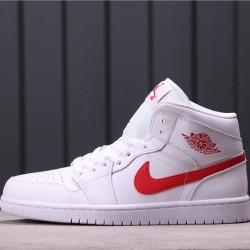 Air Jordan 1 Mid BQ6472-106 All White Red