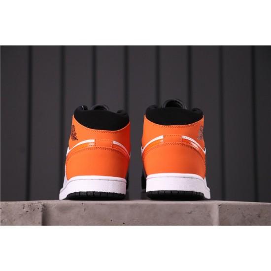 """Air Jordan 1 Mid """"Shattered Backboard"""" 554724-058 Orange Black White"""