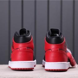 Air Jordan 1 Mid 554724-086 Red Black