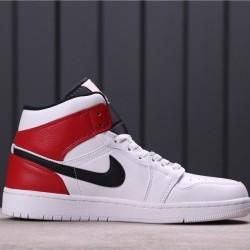 Air Jordan 1 Mid 554724-116 White Red