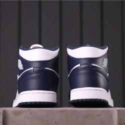 "Air Jordan 1 Mid ""Obsidian"" 554724-174 Dark Blue White"