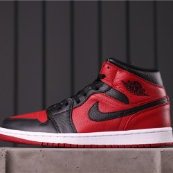 Air Jordan 1 Mid 554724-610 Red Black