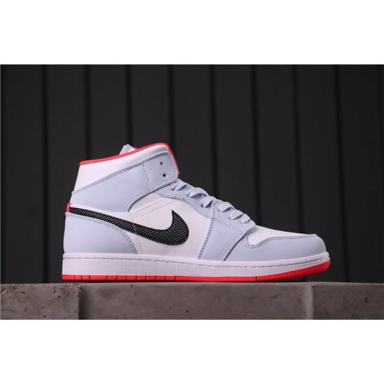 "Air Jordan 1 Mid ""Bred Toe"" 555112-400 Grey Black White"