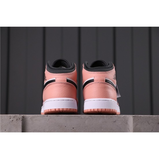 "Air Jordan 1 Mid ""Pink Quartz"" 555112-603 Pink White Black"