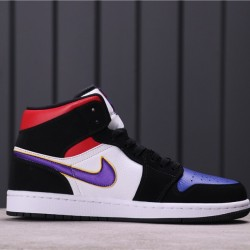 "Air Jordan 1 Mid ""What the"" 852542-005 Black White Purple"