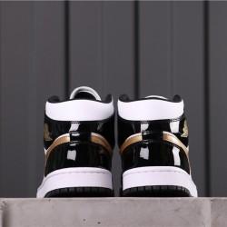 "Air Jordan 1 Mid ""Patent Gold"" 852542-007 Black White Gold"