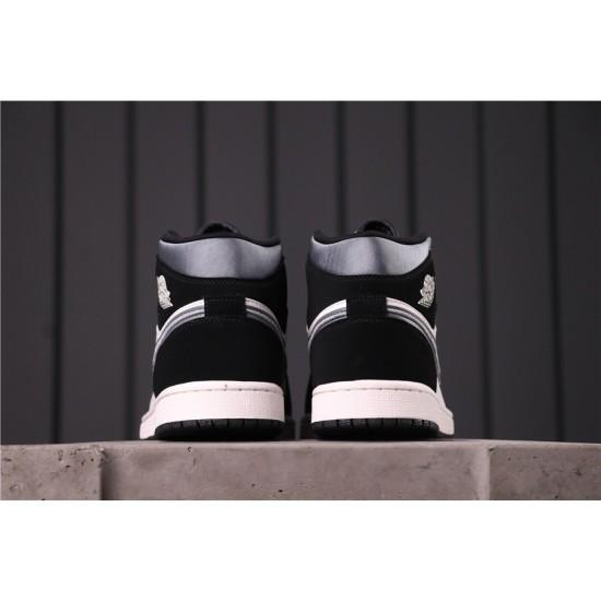 "Air Jordan 1 Mid ""Satin"" 852542-011 Black Grey White"