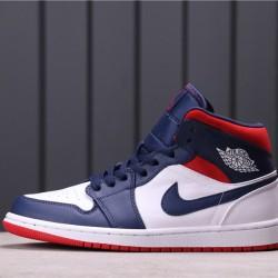 """Air Jordan 1 Mid """"USA"""" 852542-104 Blue White"""