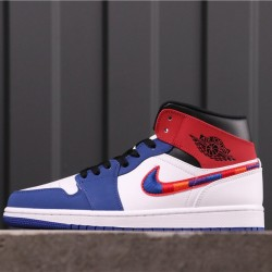 "Air Jordan 1 Mid ""Multicolor Swoosh"" 852542-146 White Blue Red"