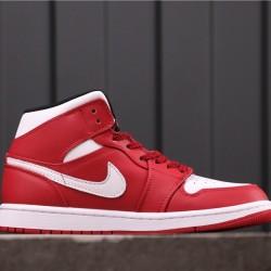 "Air Jordan 1 Mid ""Gym Red"" 554724-605 Red White"