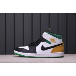 "Air Jordan 1 Mid ""BHM EQUALITY"" BQ6932-101 White Black Green Yellow"