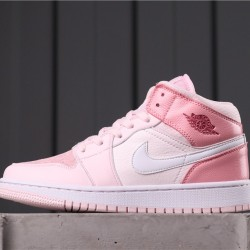 "Air Jordan 1 Mid ""Digital Pink"" CW5379-600 Pink White"