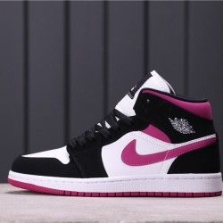 "Air Jordan 1 Mid ""White Black Pink"" BQ6472-005 Black white Purple"