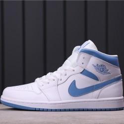 """Air Jordan 1 Mid """"UNC"""" BQ6472-114 White Blue"""