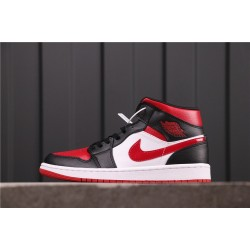 "Air Jordan 1 Mid ""Bred Toe"" 554724-066 Black White Red"