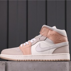 "Air Jordan 1 Mid ""Bred Toe"" CV3044-100 Pink White Grey"
