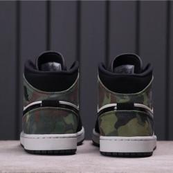 "Air Jordan 1 Mid ""CAMO"" CW5490-001 Black White Green"