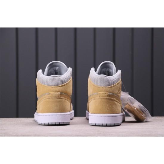 "Air Jordan 1 Mid ""Barely Volt"" DA4666-001 Yellow Grey"