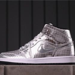 """Air Jordan 1 Mid """"Disco Ball"""" CU9304-001 All Silver"""